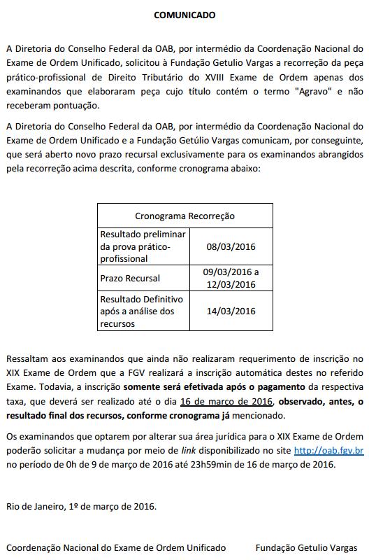 comunicado oficial pagamento oab